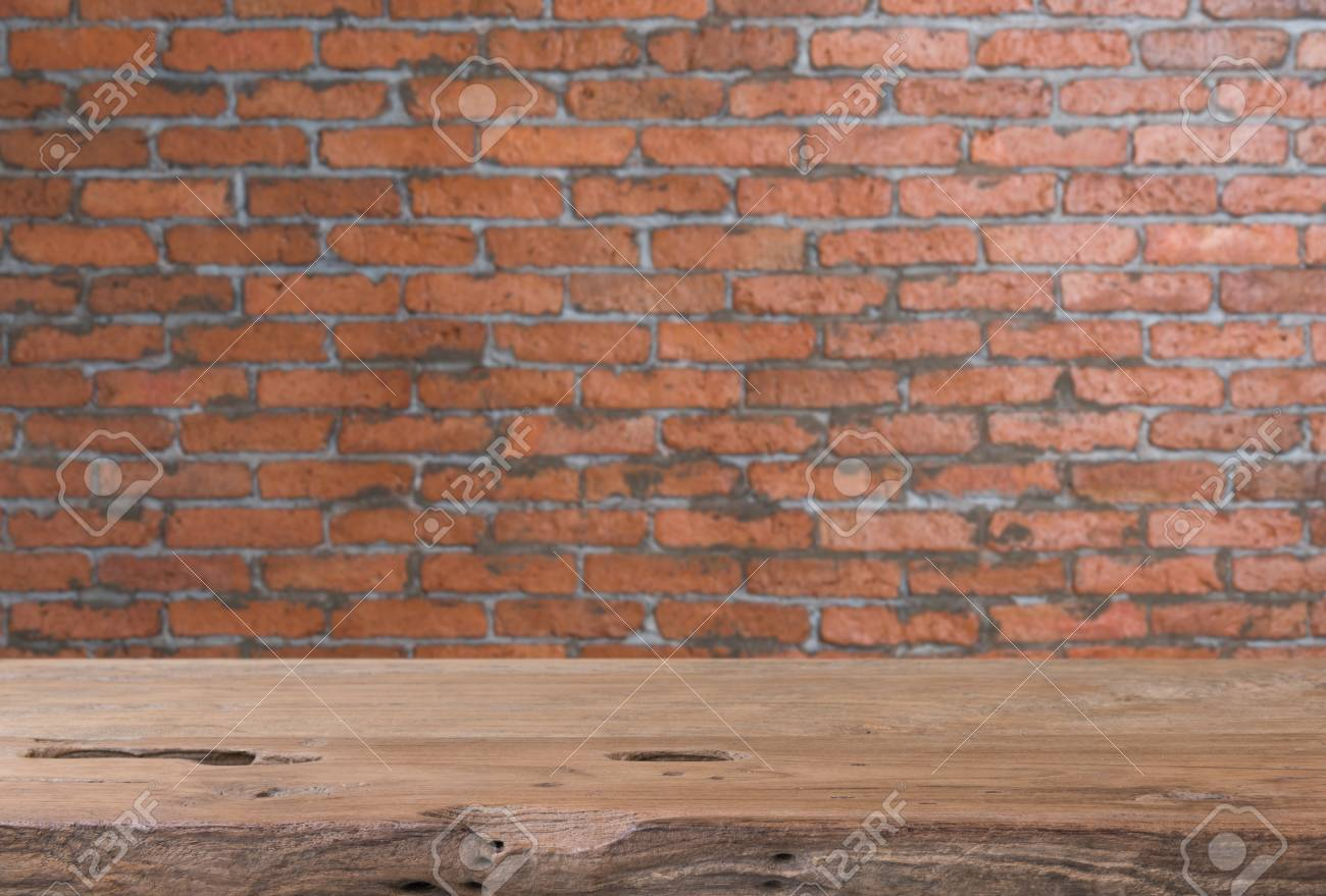Charmant Stock Photo   Teak Wood Table Top With Grunge Brick Wall Blurred Background