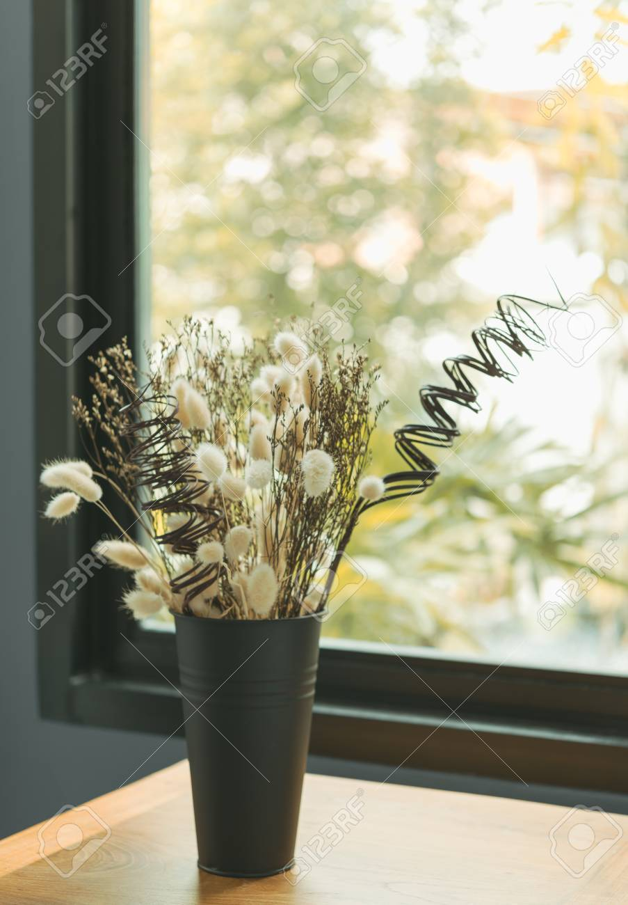 Beautiful Dried Flower Bouquet In Black Vase With Glass Window Stock Photo Picture And Royalty Free Image Image 84825626