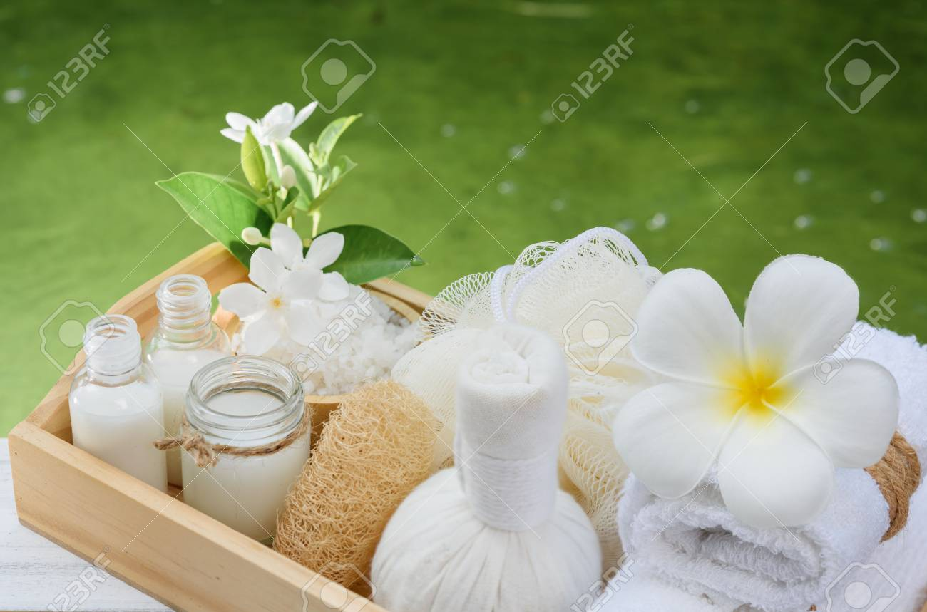 Spa Wellness Conceptwhite Candlemilk Soapsalttowelflowers