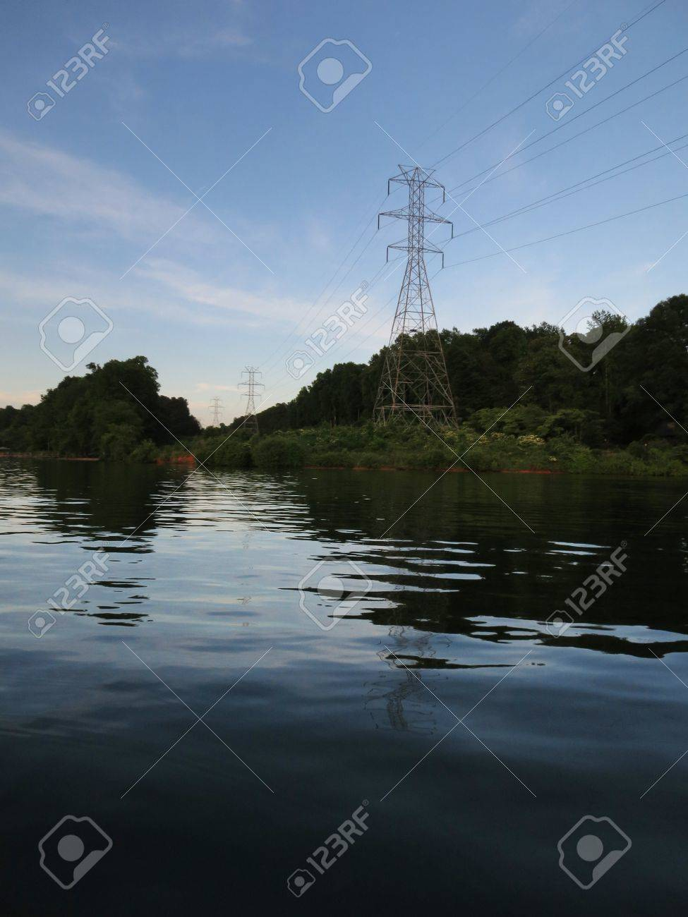 High tension power lines crossing Lake Norman in North Carolina Stock Photo - 20163105