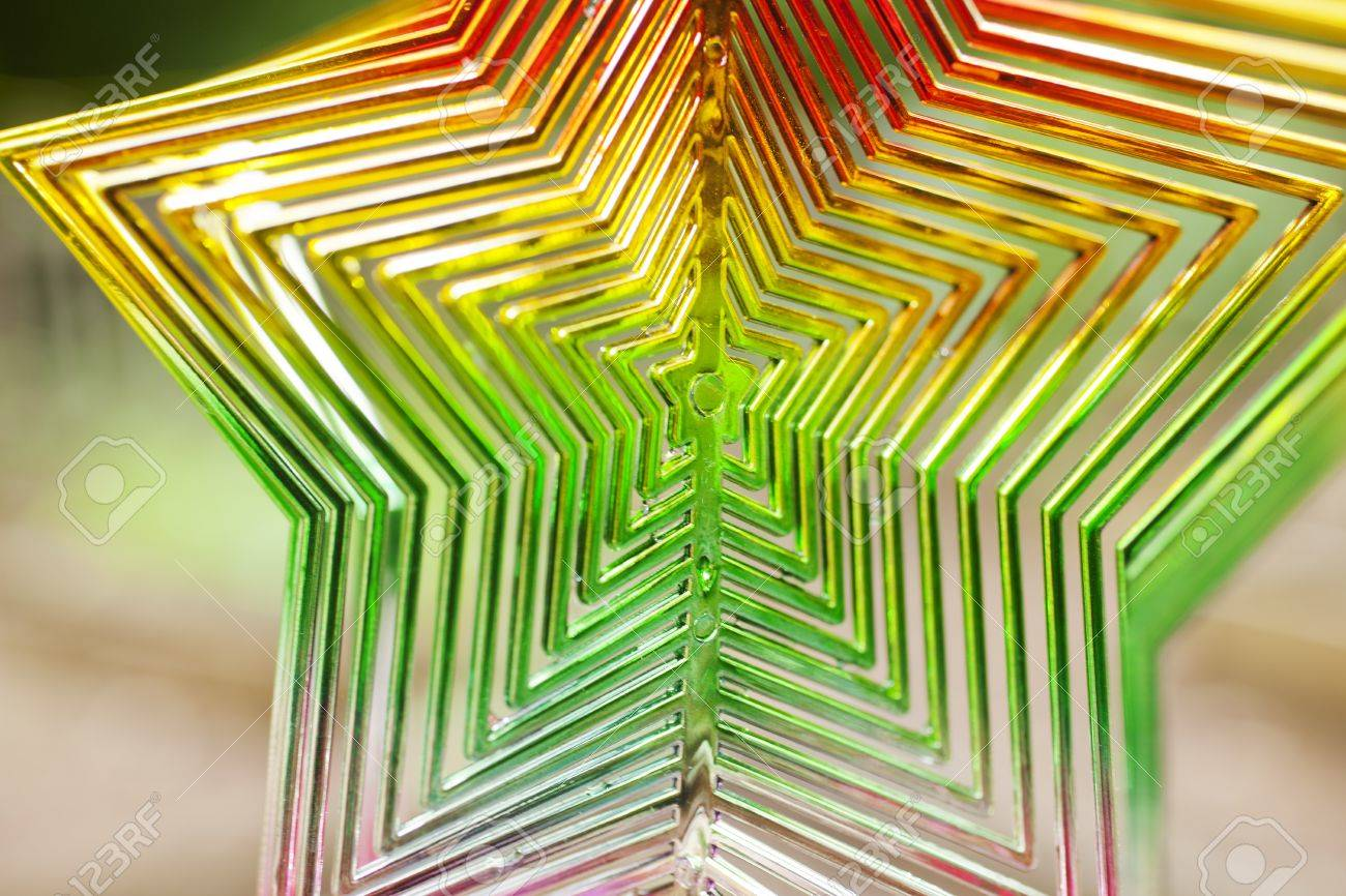 A star shaped rainbow colored hanging wind ornament Stock Photo - 20163960