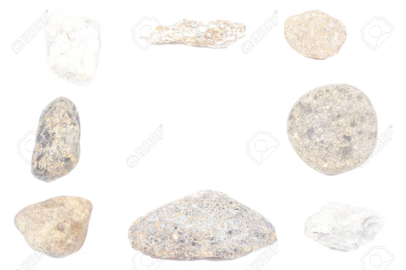 Stones arranged in a frame isolated against a white background Stock Photo - 25303993