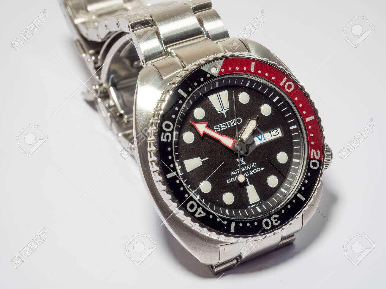 Bangkok May 31 Seiko Prospex Diver Black Dial Red And Black