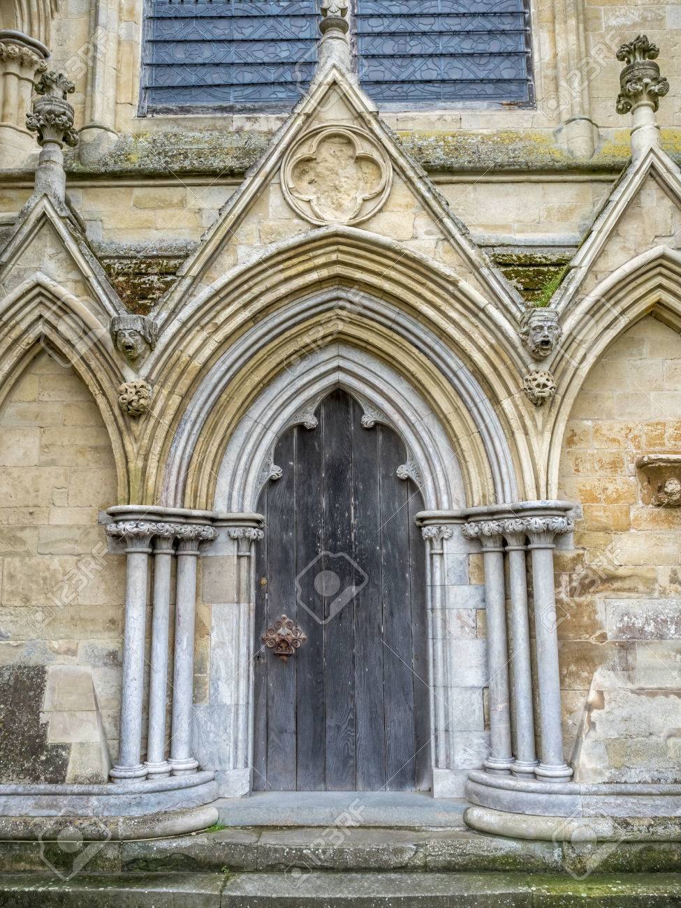 Door Arch Of Salisbury Cathedral Outstanding With English Gothic Architecture In England
