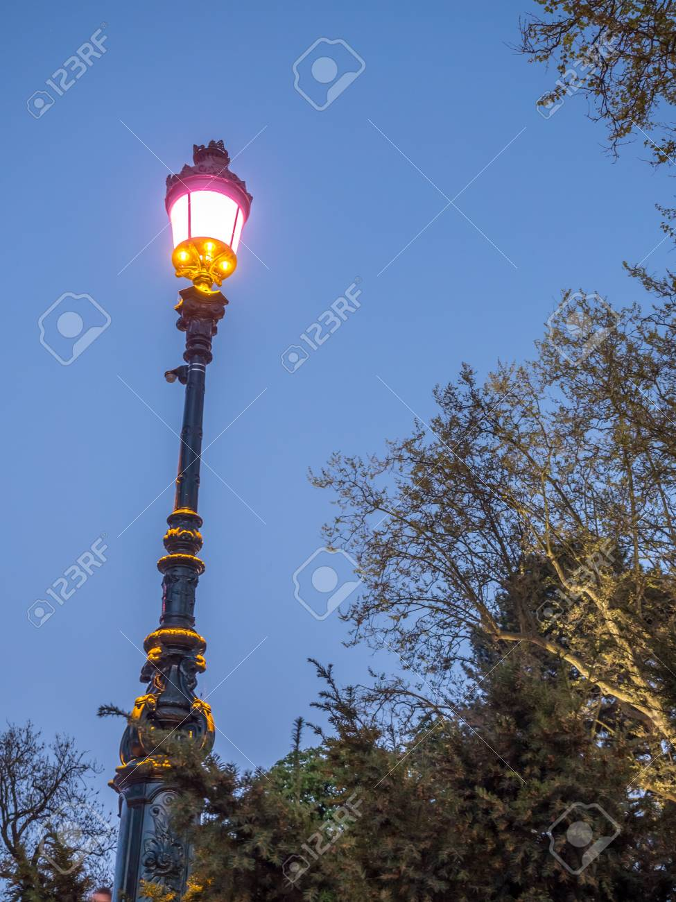 Colorful light pole in outdoor park near lake in Annecy, France,