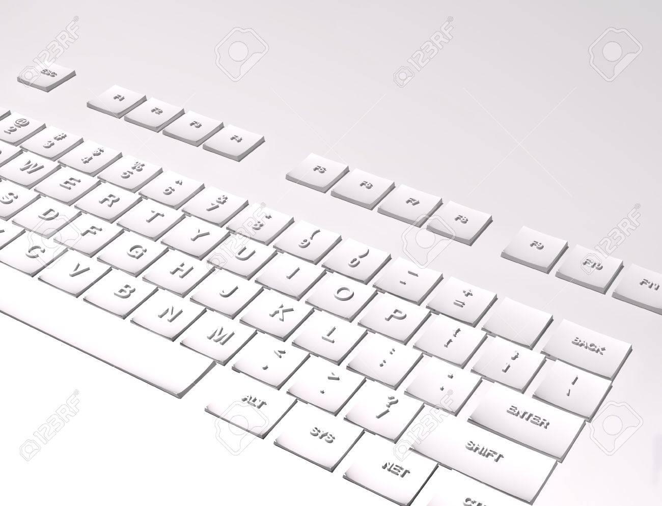 White keyboard on white background 3D Stock Photo - 17811082