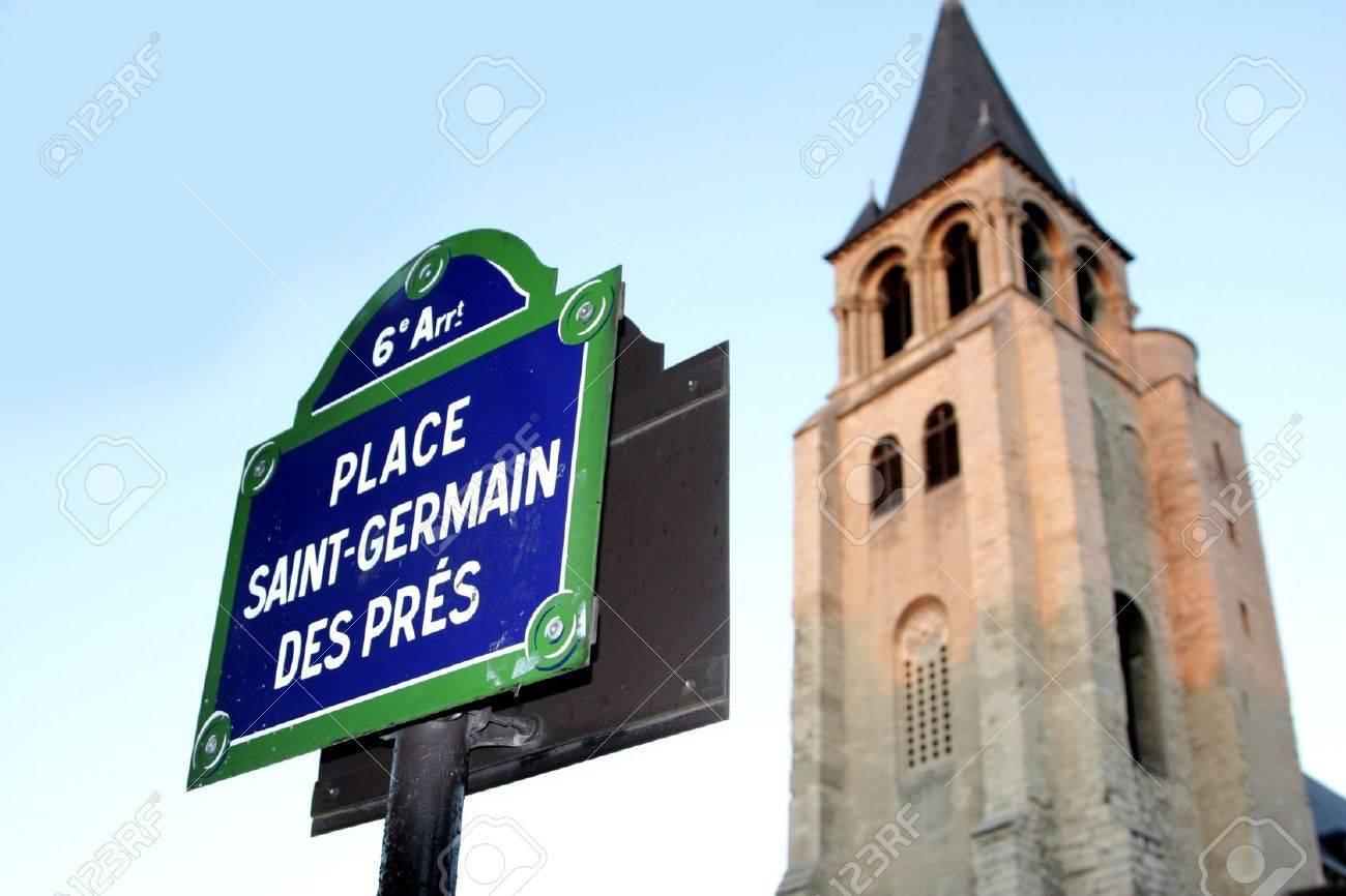 Paris signe la rue et l'indication dans la ville intra-muros, Place St Germain des Prés Banque d'images - 11945800