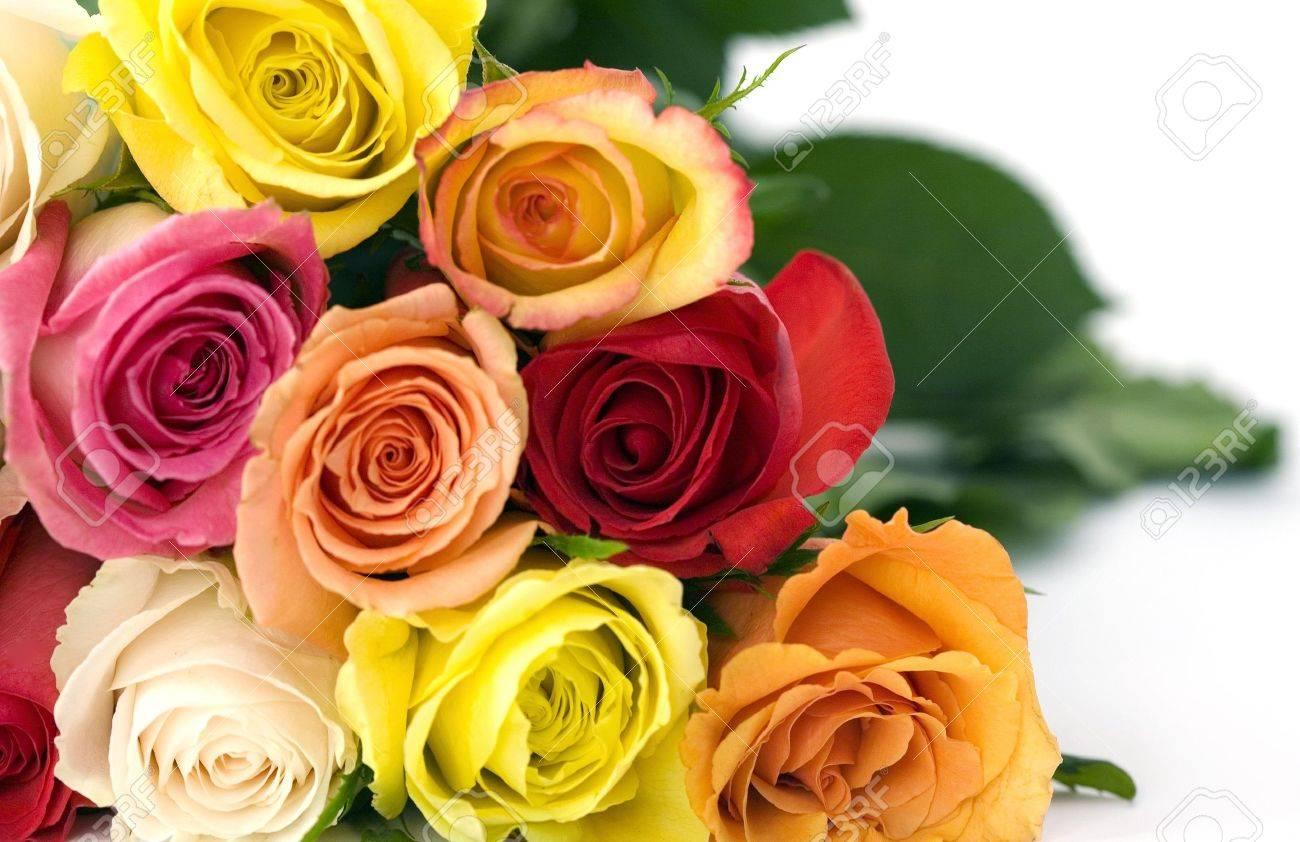 Schöne Bouguet Gemischten Rosen In Lebendigen Farben, Die Nur Spakle ...