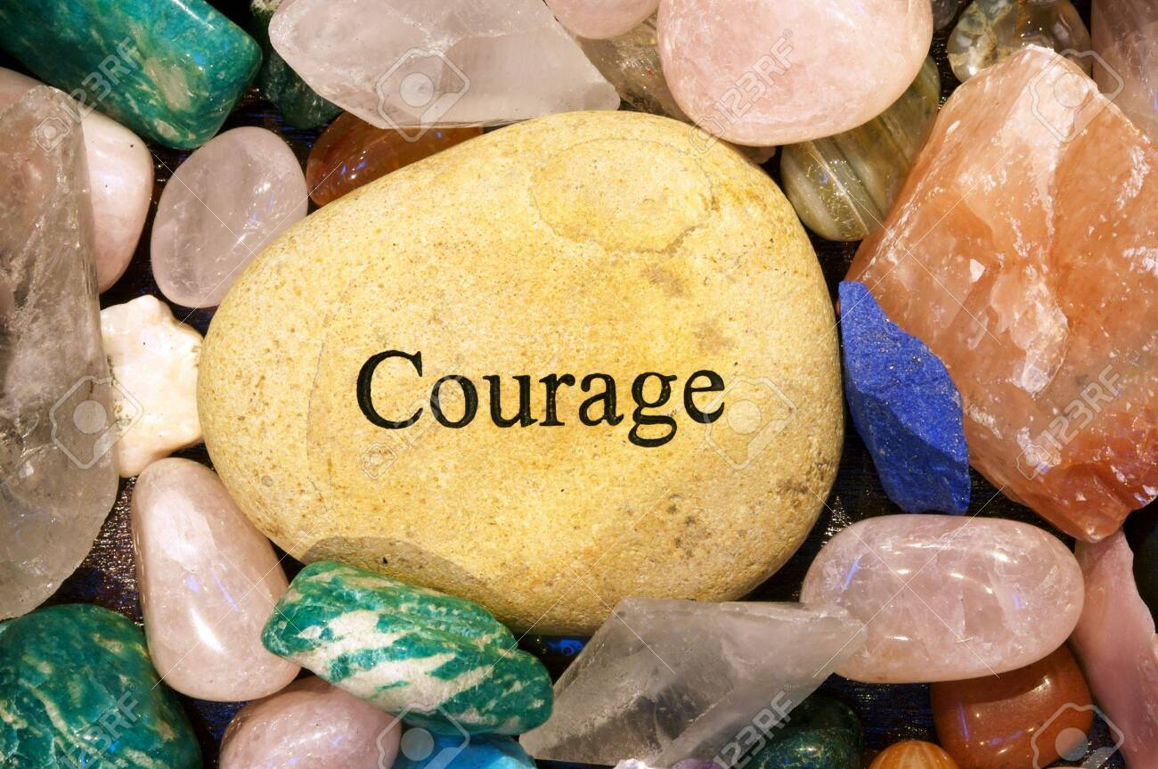 Rock with the word Courage Stock Photo - 815581