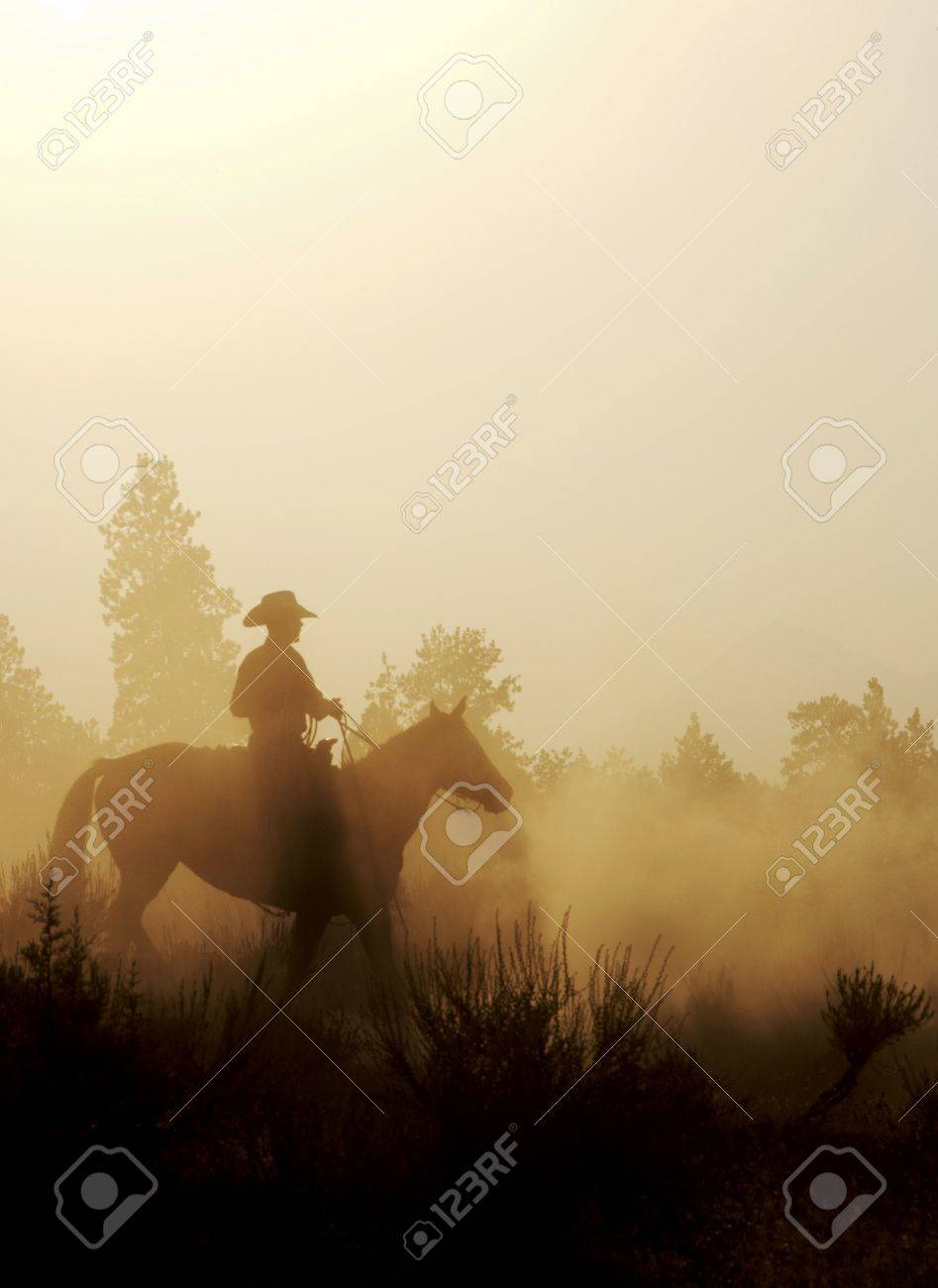 silhouette of a cowboy in the west Stock Photo - 1132123