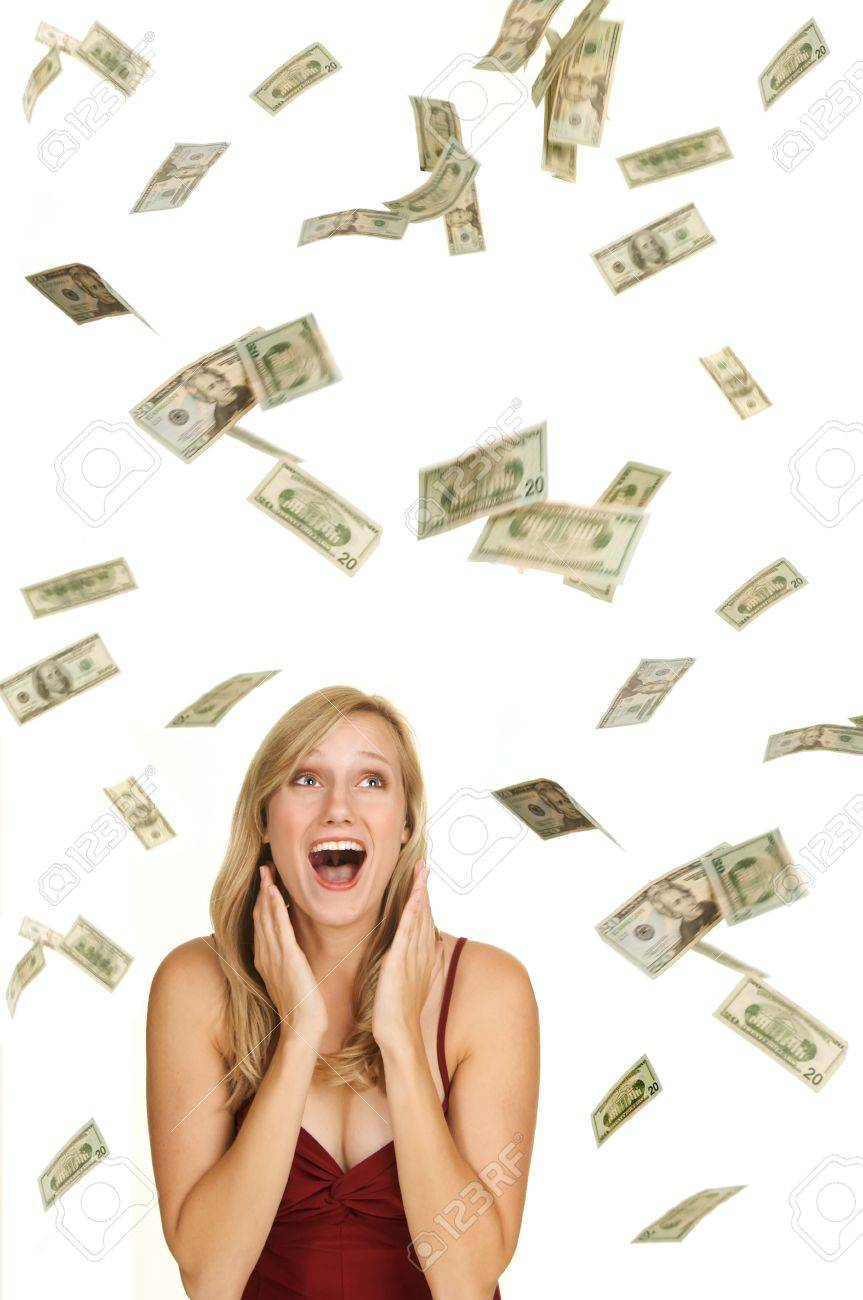 Beautiful blond in red dress on white background with hundred and twenty dollars bills falling around her Stock Photo - 3681462
