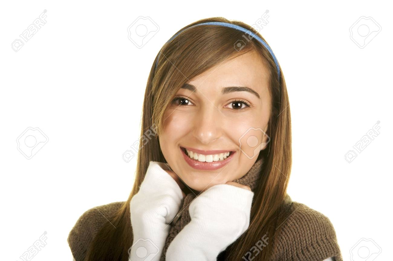 Portrait of a beautiful brunette teenage girl with a nice smile Stock Photo - 3866522