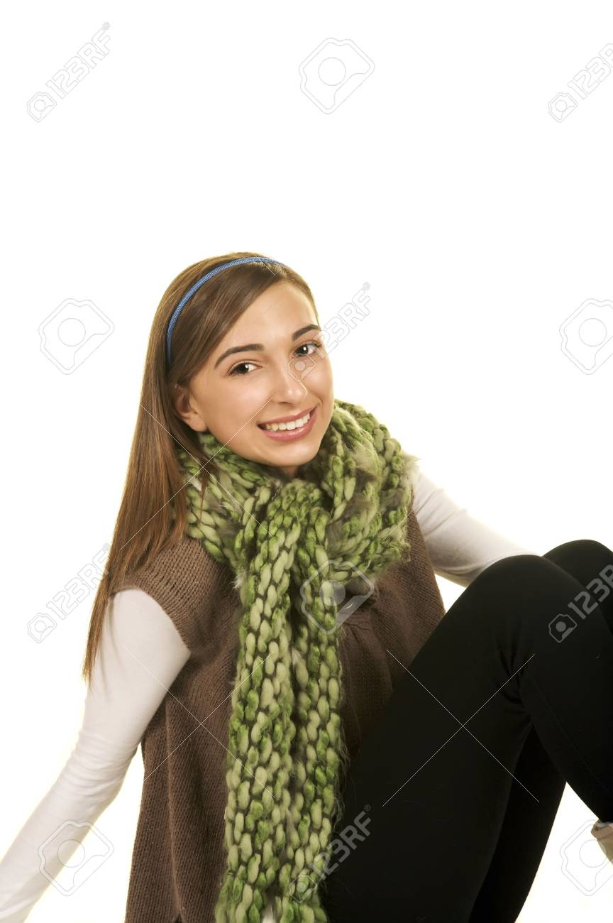 Portrait of a beautiful brunette teenage girl with a nice smile Stock Photo - 3866523
