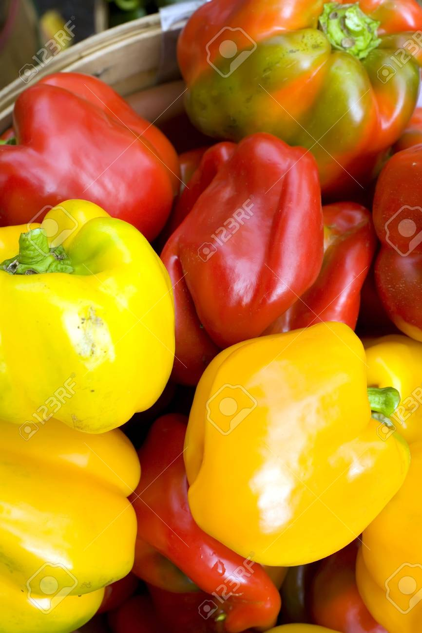 Farmers market pile of bright colorful peppers Stock Photo - 3878386