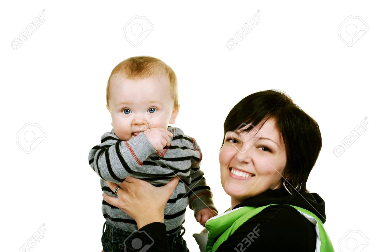 cute baby boy with his mother Stock Photo - 3976412