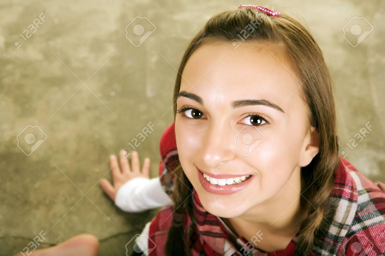 beautiful brunette teenager smiling Stock Photo - 3992844