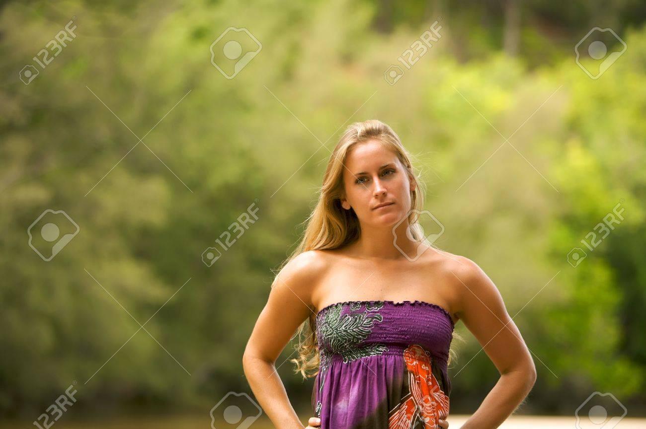 Beautiful Blond Woman Outside Stock Photo - 4344702