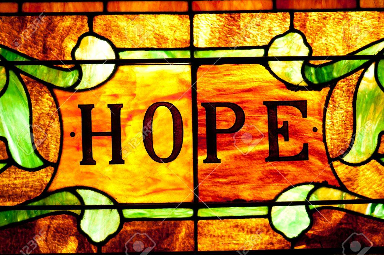 Beautiful stained glass window that says hope. Stock Photo - 9883840