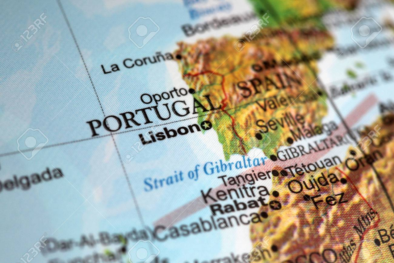 Lisbon Portugal On A World Globe Deliberate Shallow Depth Of - Portugal globe map
