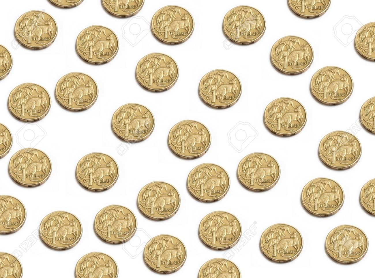 Australischer Dollar Münzen Zufällig Auf Weißem Platziert Isoliert