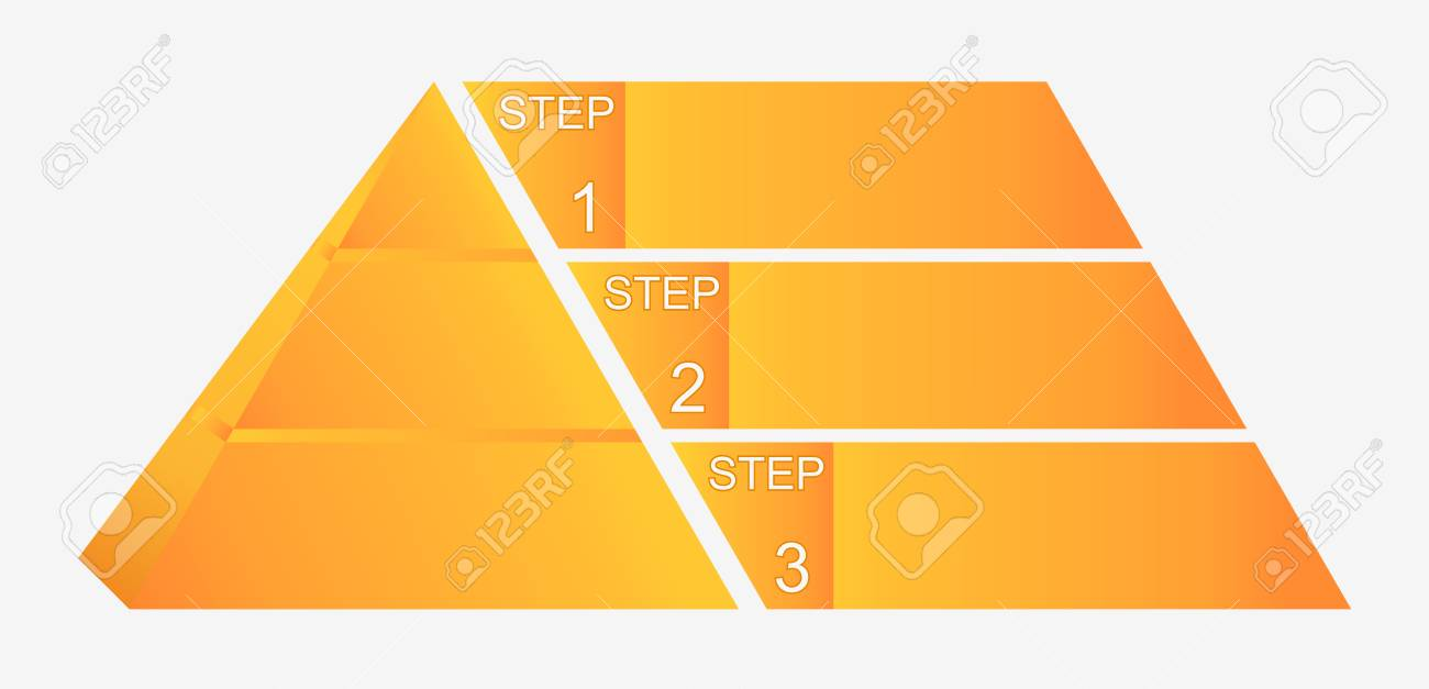 Pyramid Chart With Four Elements With Numbers And Text, Pyramid ...