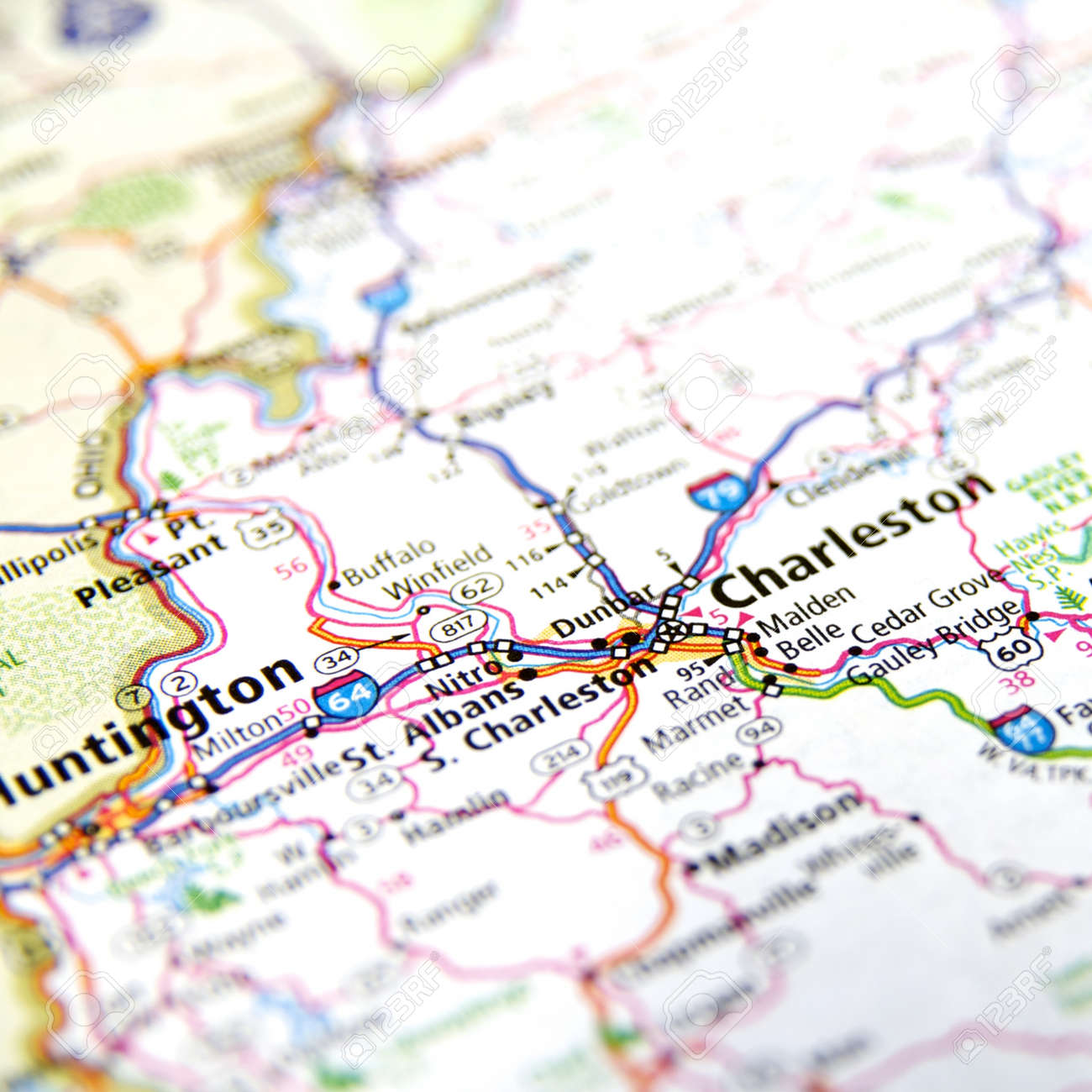 Close Up Map Of Charleston West Virginia Stock Photo Picture And