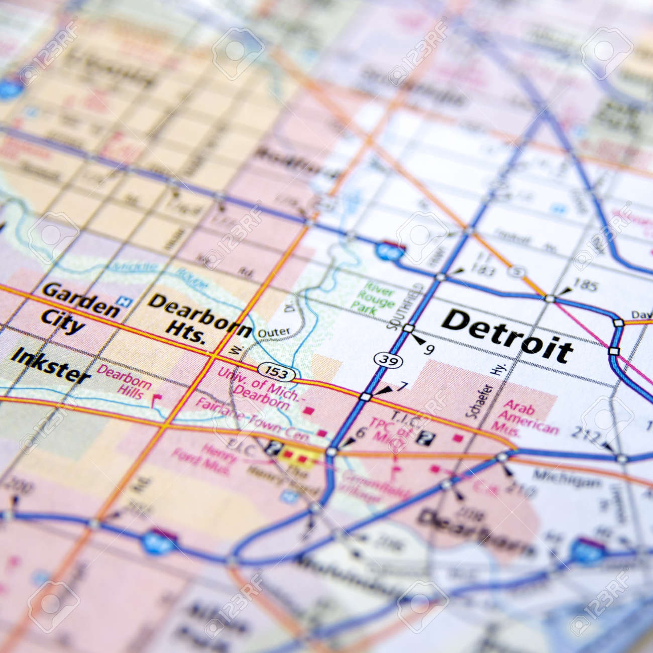 Close Up Map Of Detroit Michigan Stock Photo Picture And Royalty