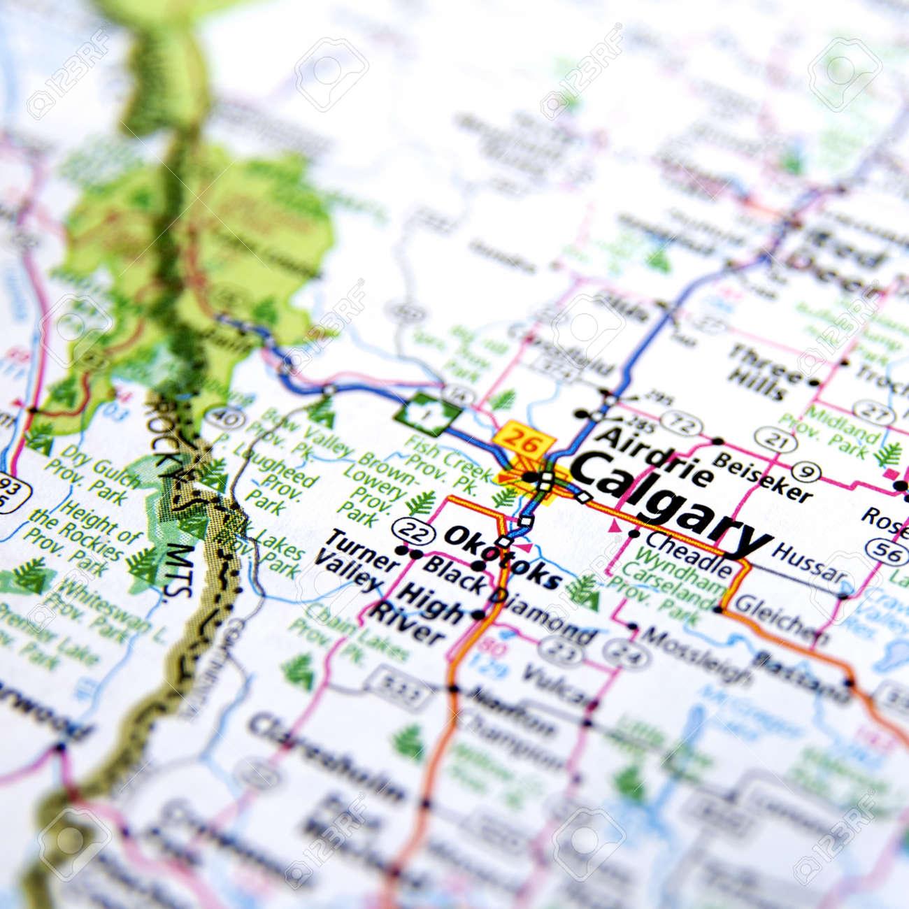 Map Of Canada Calgary.Close Up Map Of Calgary Canada