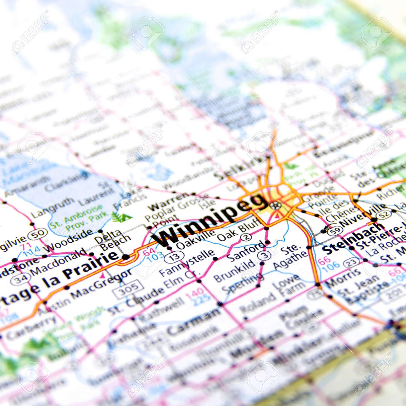 Winnipeg On Map Of Canada.Close Up Map Of Winnipeg Canada