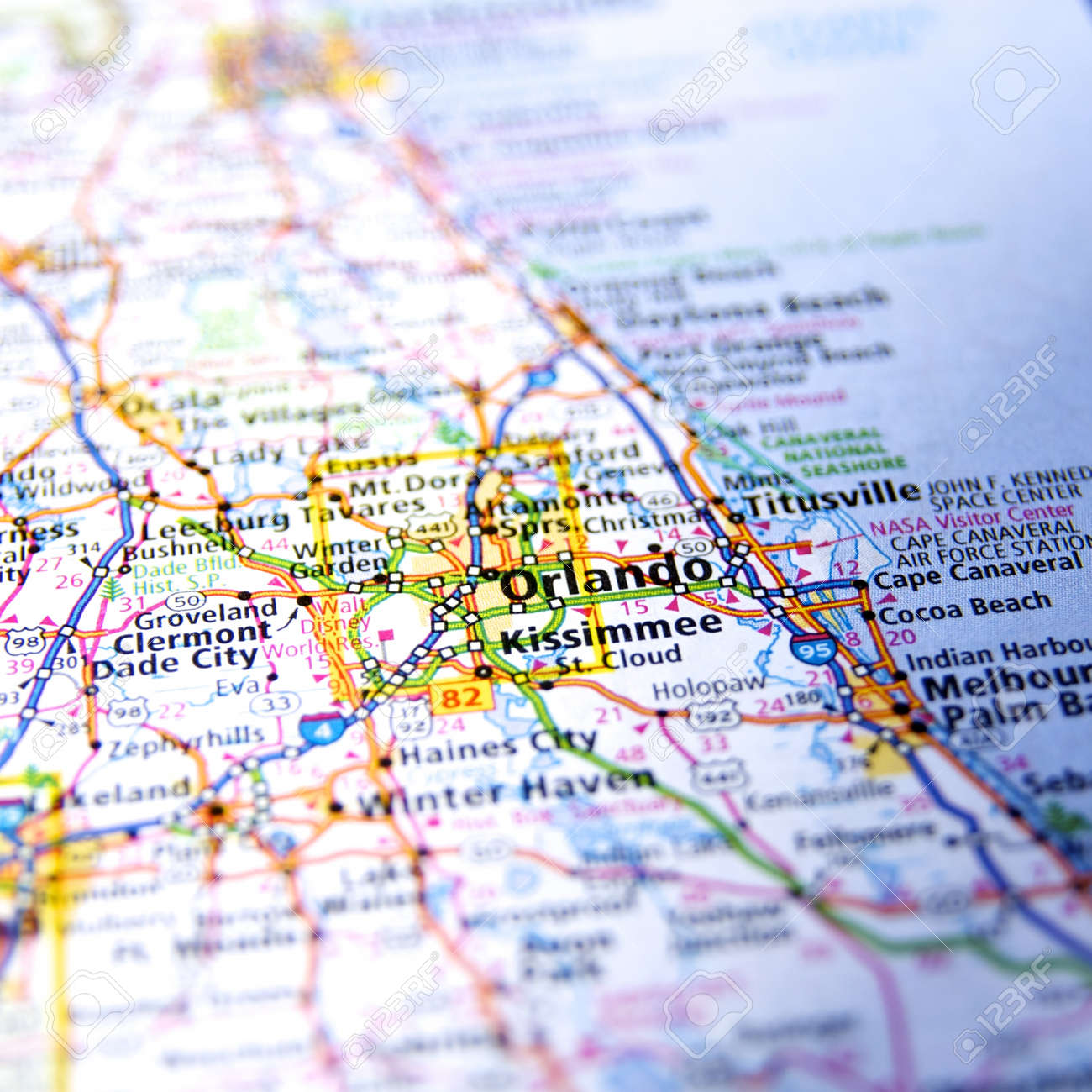 Map Orlando Florida.Close Up Map Orlando Florida Stock Photo Picture And Royalty Free