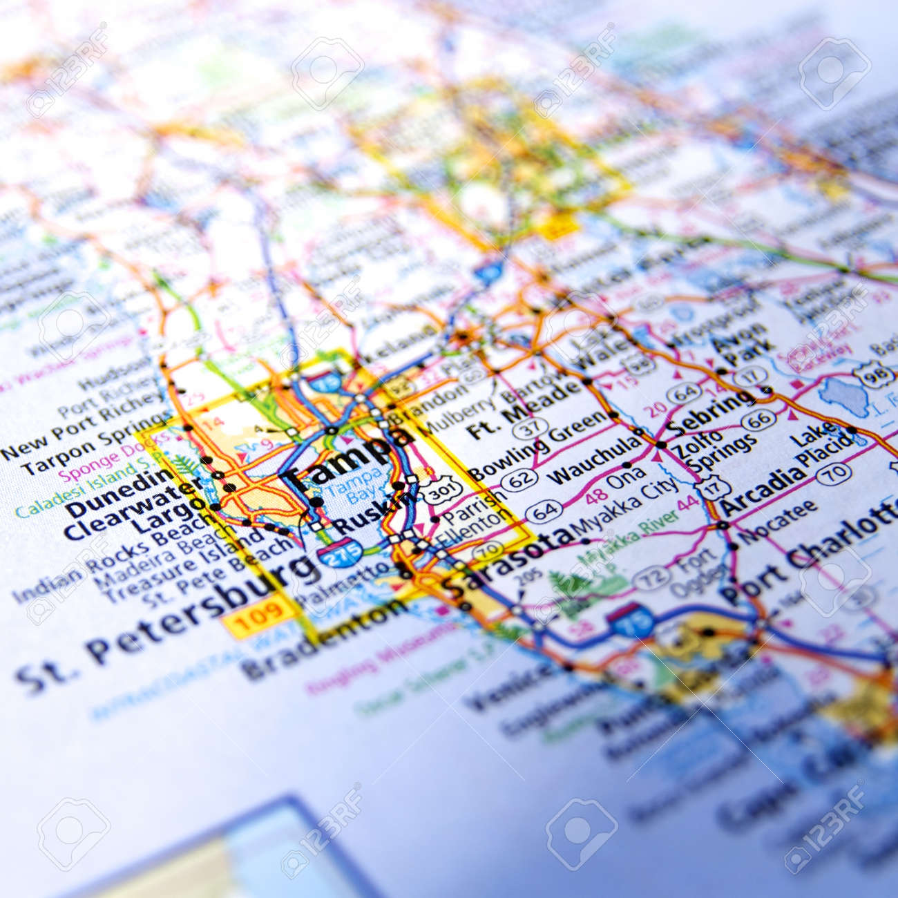 Map Tampa Florida.Close Up Map Tampa Florida Stock Photo Picture And Royalty Free