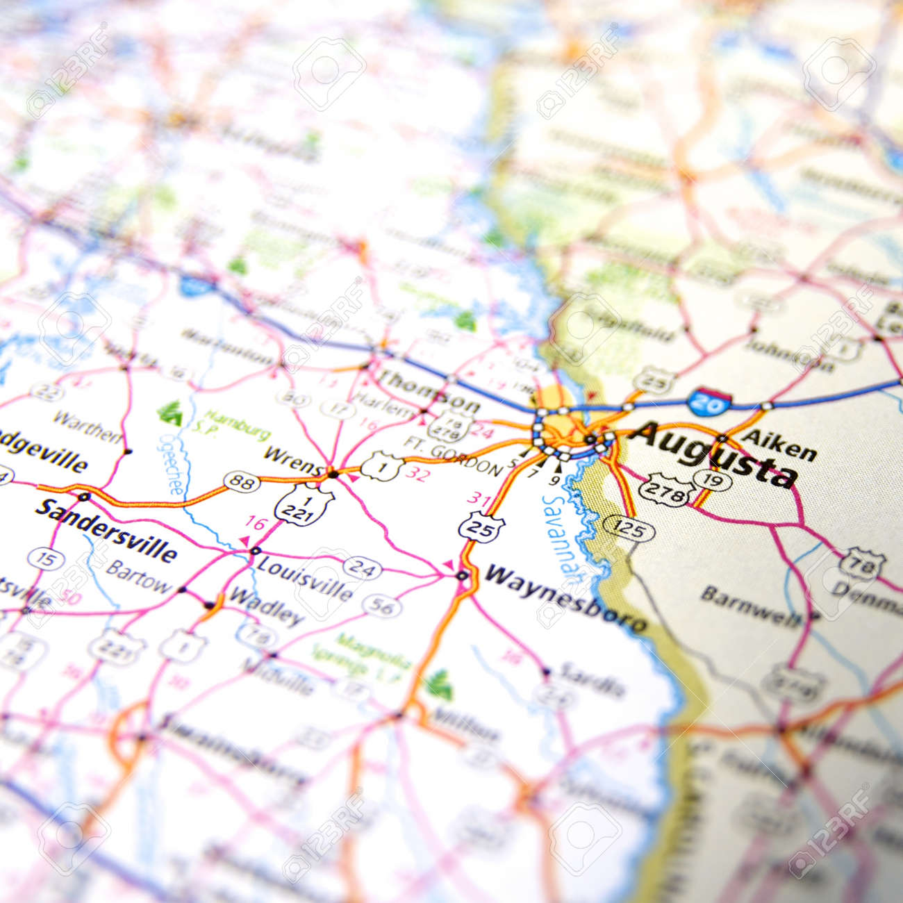 Map Of Augusta Georgia And Surrounding Area.Close Up Map Of Augusta Georgia Stock Photo Picture And Royalty