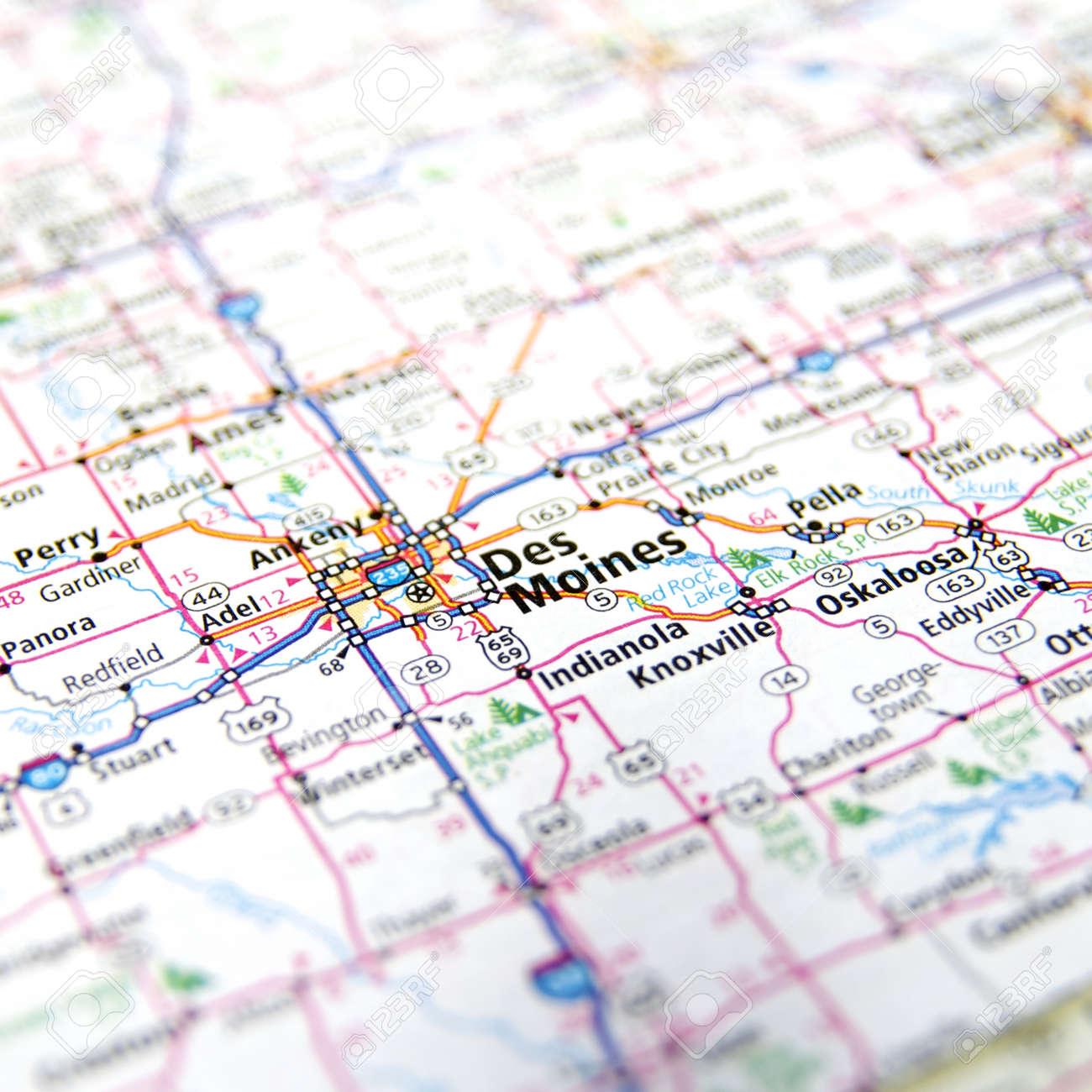 Close-Up map of Des Moines, Iowa