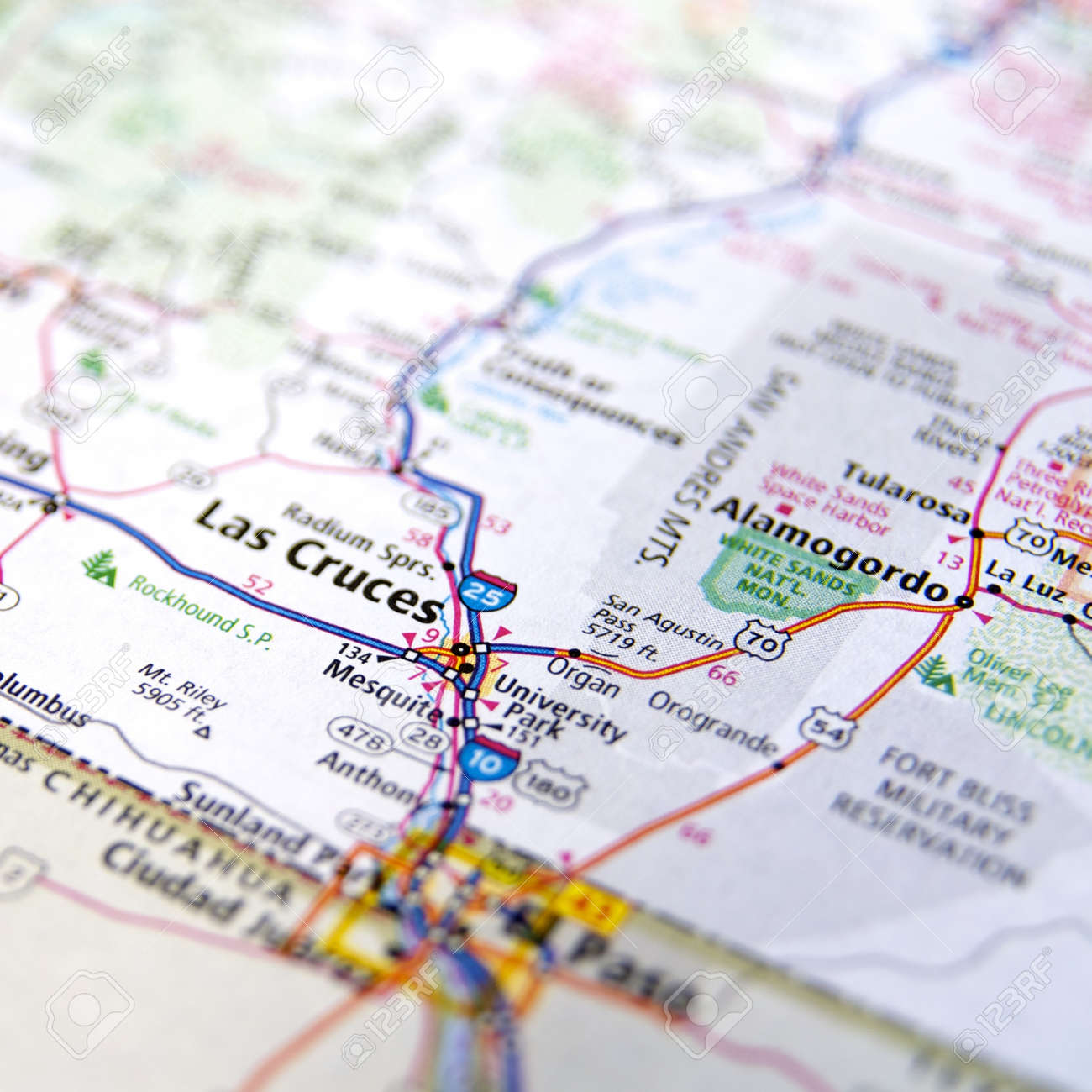 CloseUp Map Of Las Cruces New Mexico Stock Photo Picture And