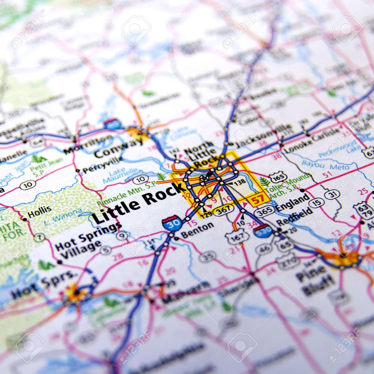 Close-Up map of Little Rock, Arkansas