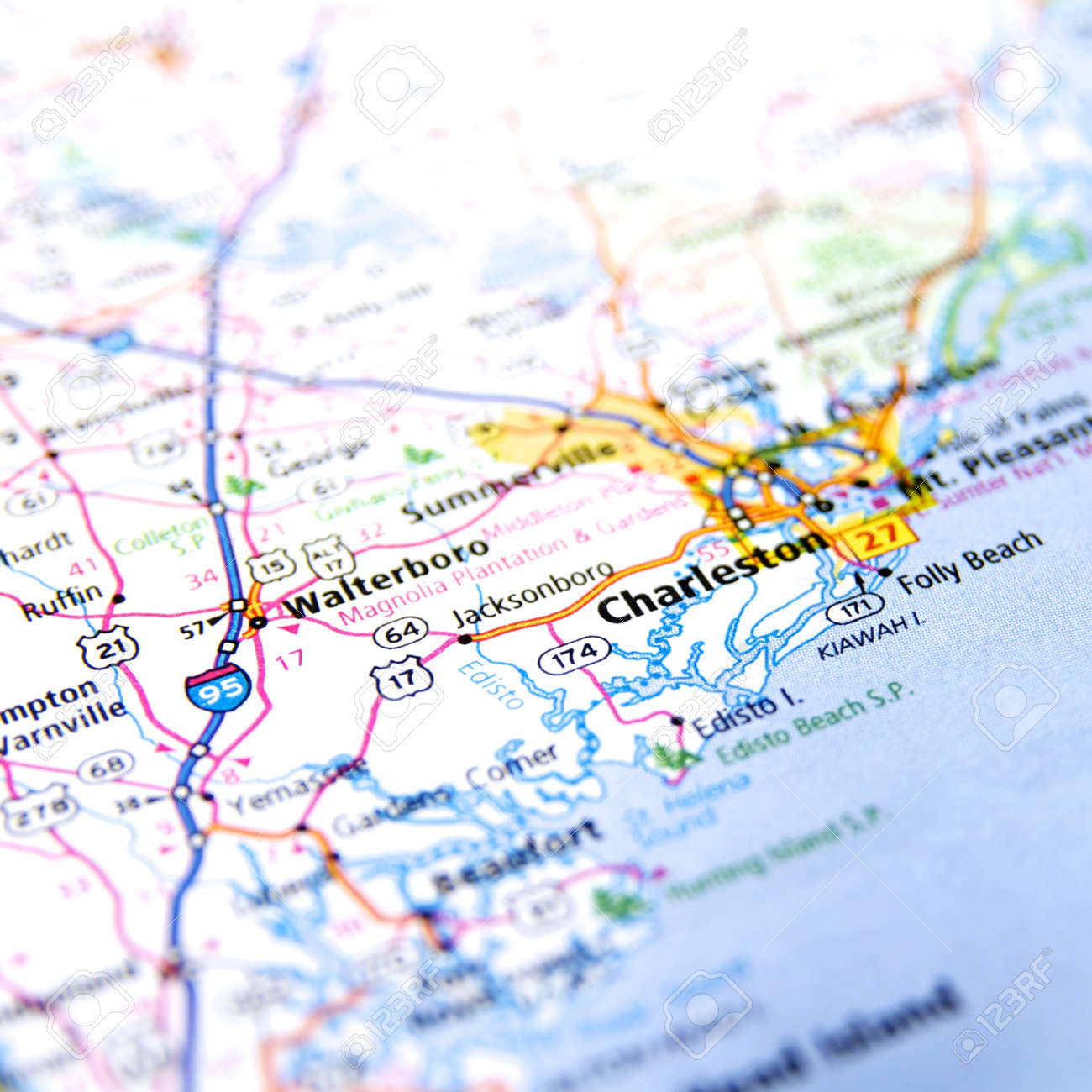Close Up Map Of Charleston South Carolina Stock Photo Picture And