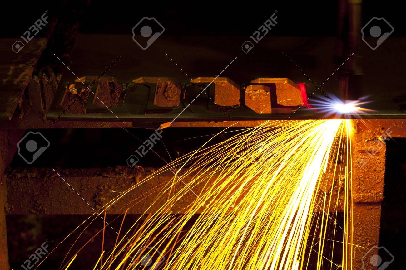Industrial laser cutter with sparks Stock Photo - 16248816
