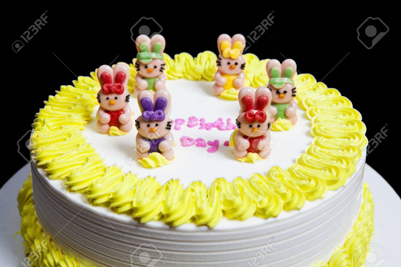 Happy Birthday Cake For Childrens Partyspecial Stock Photo