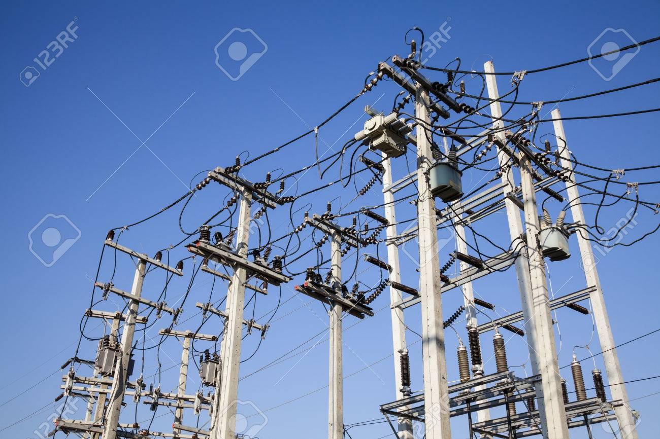 Electrical power poles in The electricity needed to power an