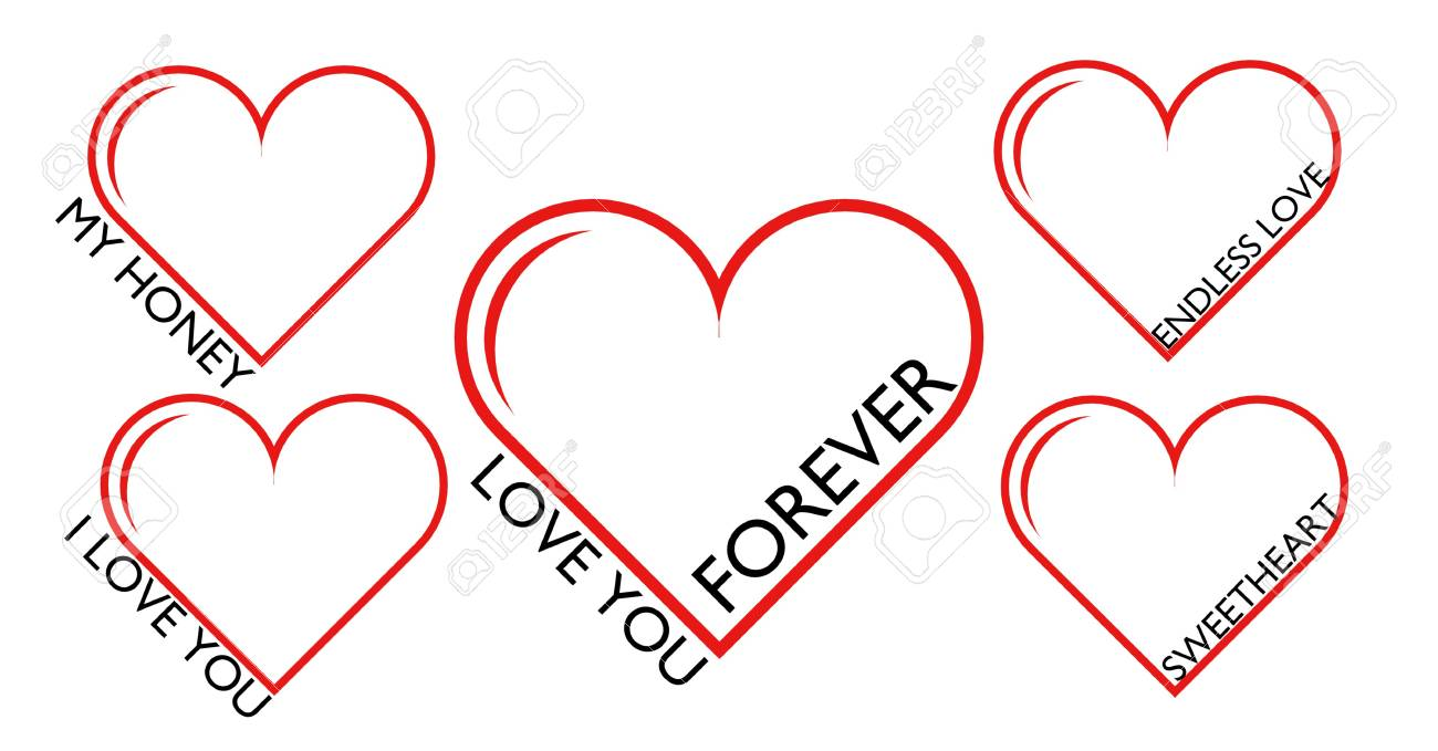set of red hearts love you forever my sweetheart honey endless love stock photo 105752597