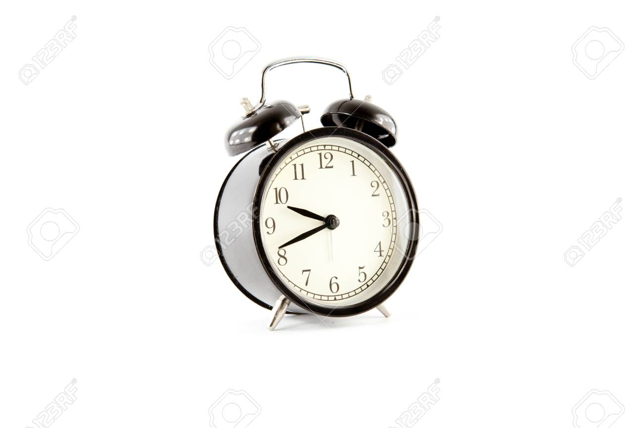 Twin bell alarm clock on white background