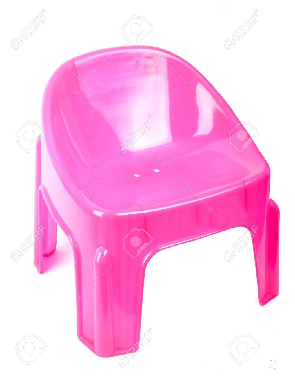 Sedia Di Plastica Rosa Isolato Su Sfondo Bianco Foto Royalty Free ...