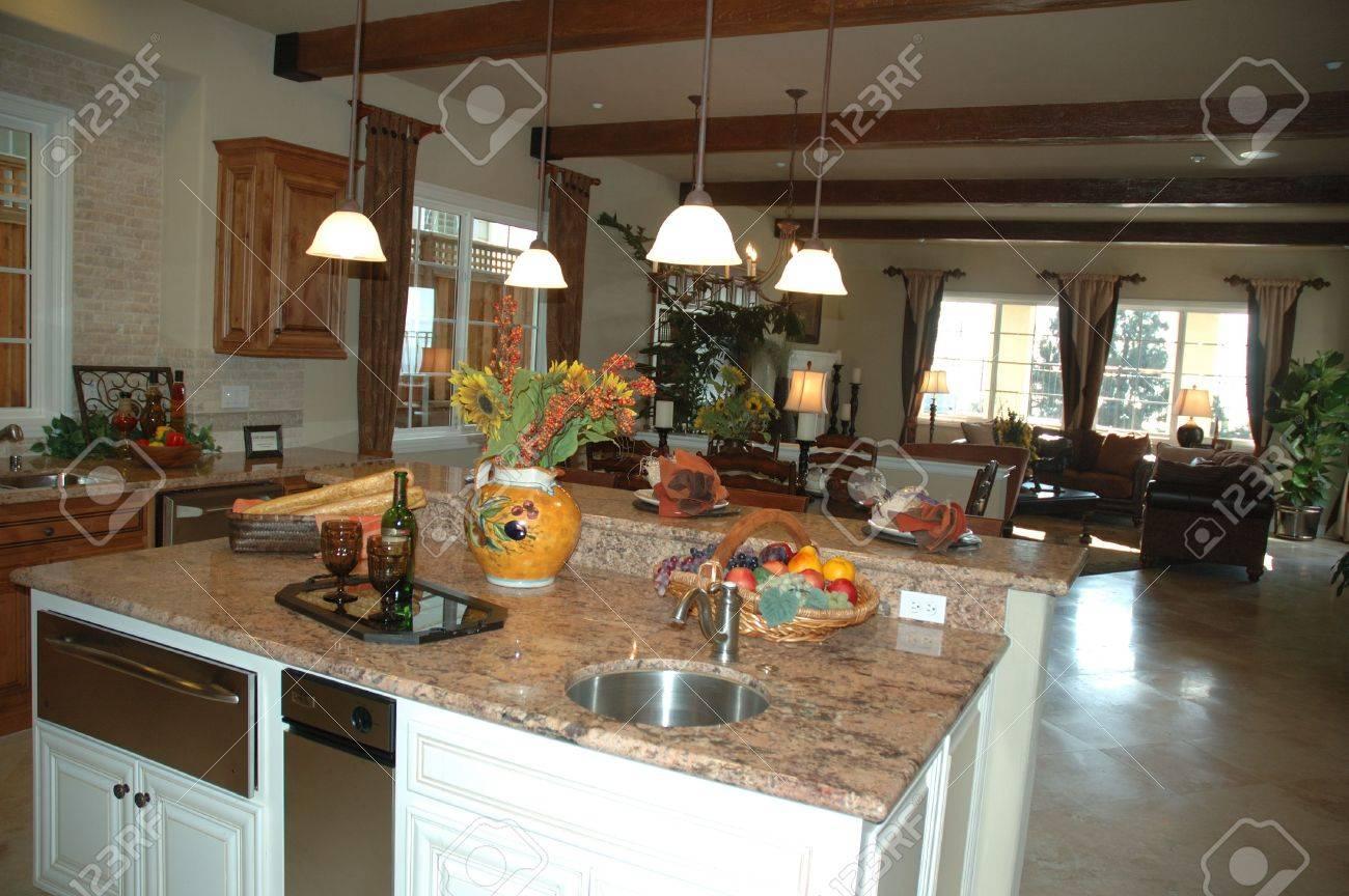 Modern Living Room Setting And Modern Kitchen In New Development ...