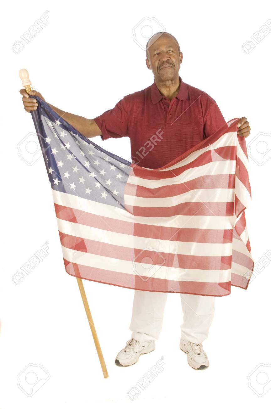 African American patriot with flag isolated over white Stock Photo - 2583155