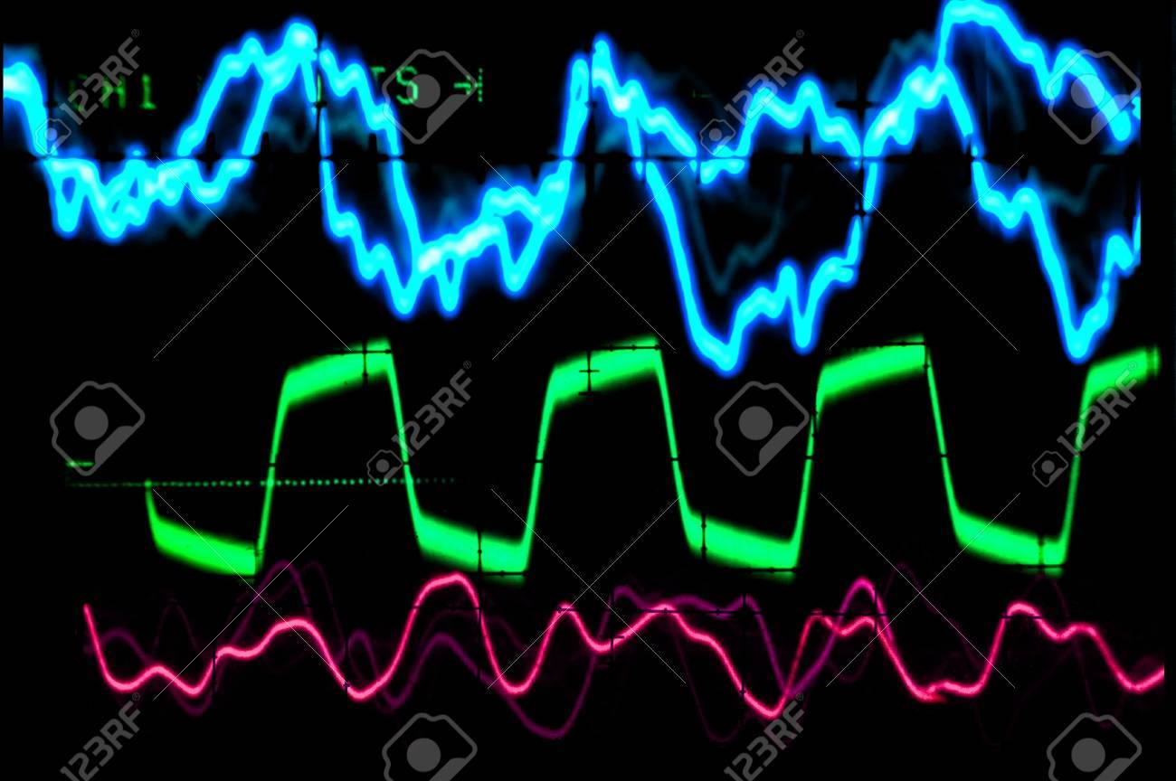 Multiple colored waveforms on an oscilloscope Stock Photo - 3805812