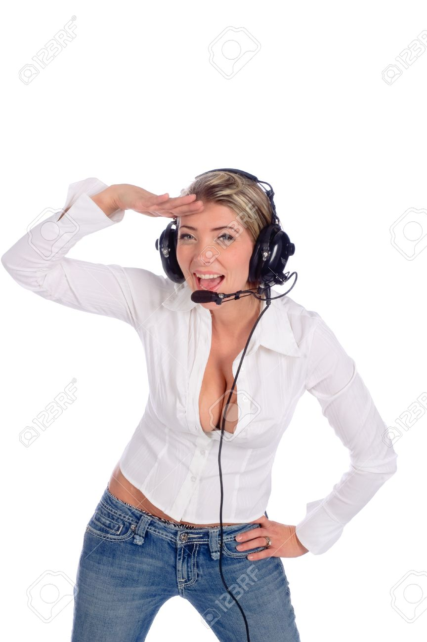 buxom woman air traffic controller talking on headset saluting isolated over white Standard-Bild - 7911479