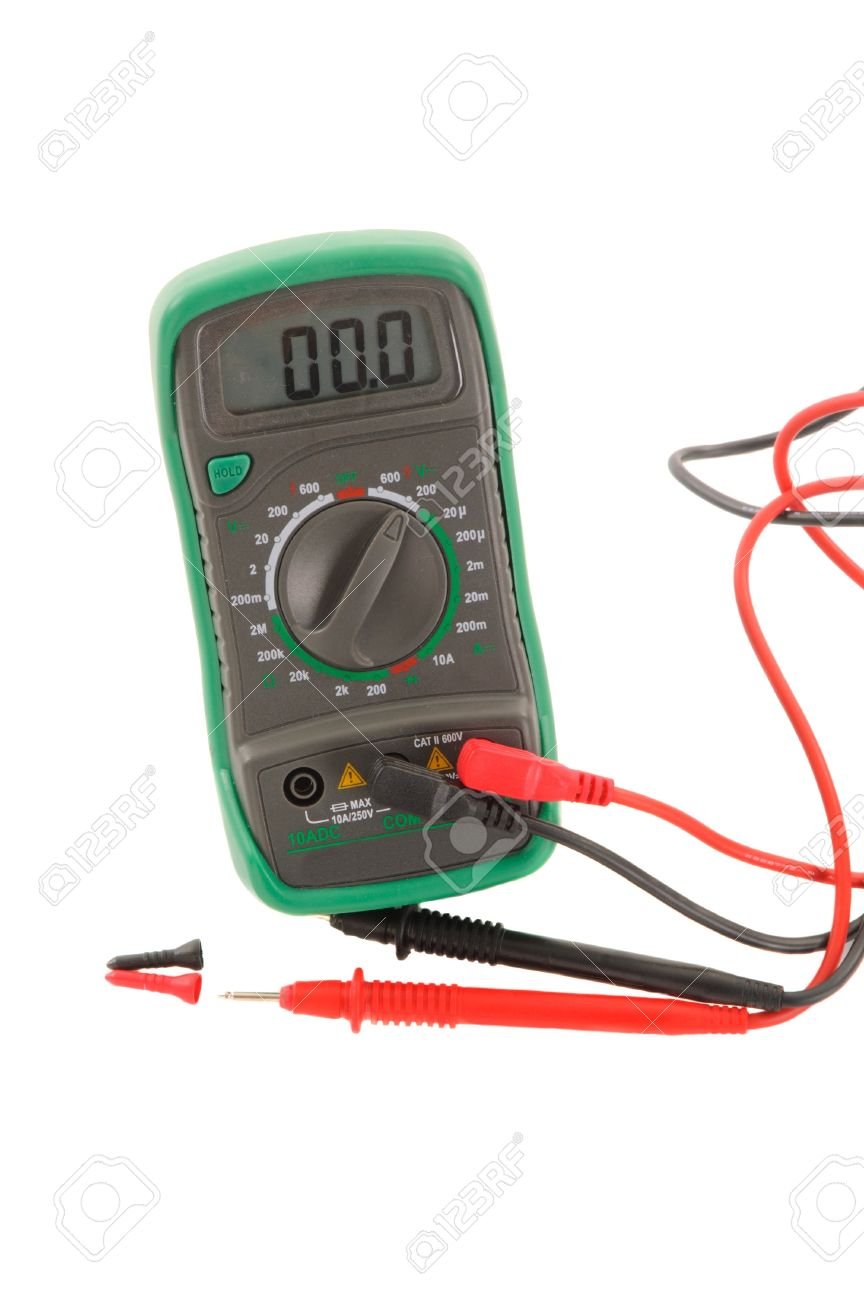 Green Digital Multimeter And Leads Reading Zero, Set On 200v.. Stock ...