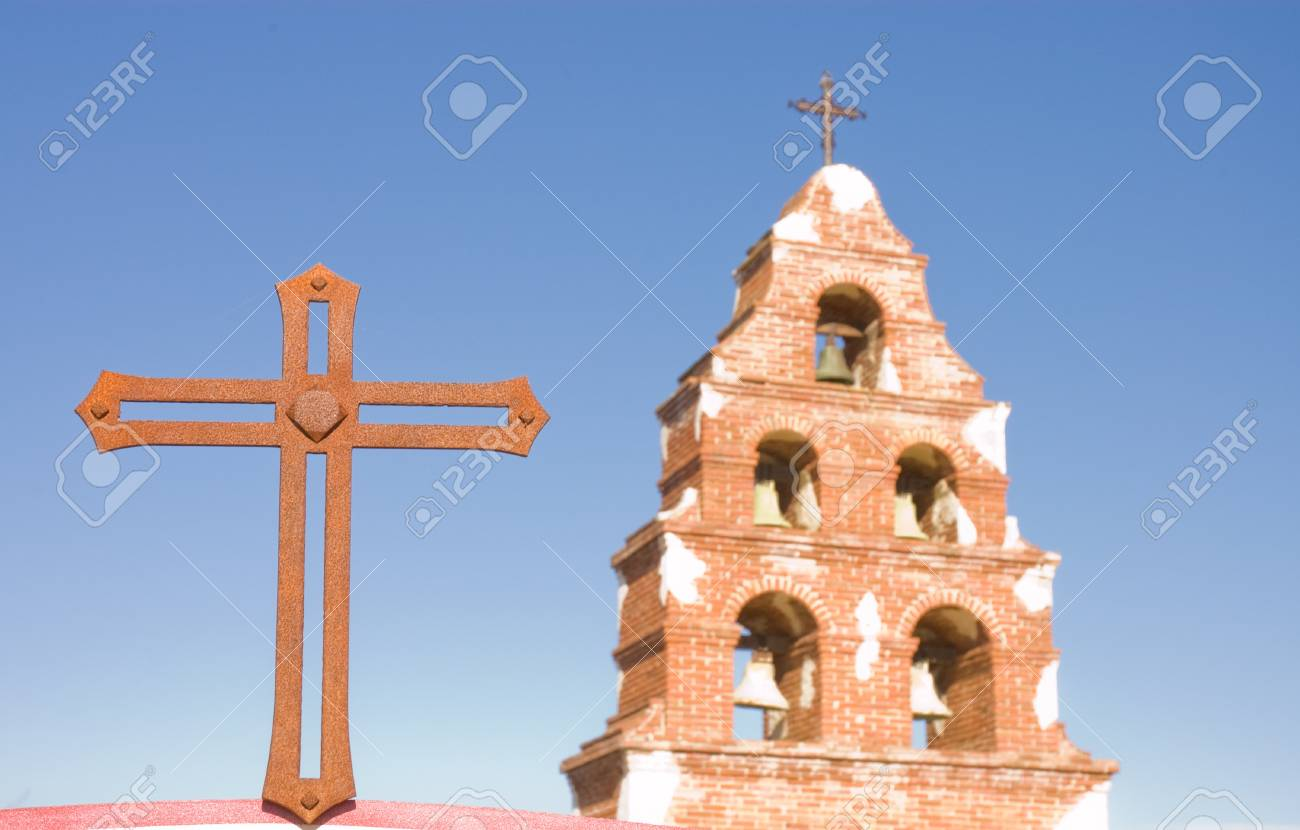 Belltower of San Migeul mission in California Stock Photo - 15322085