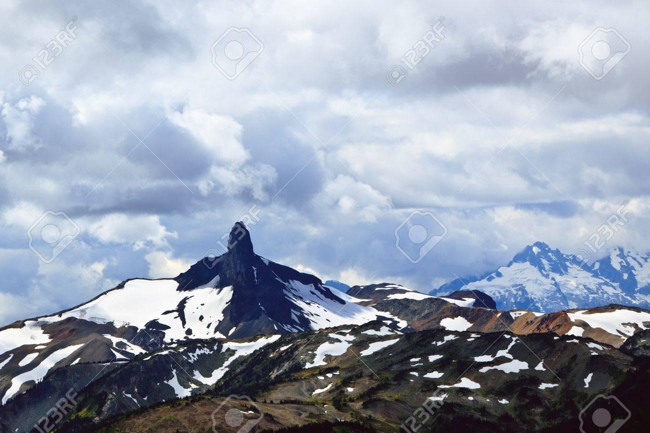 The Black Tusk mountain under a very cloudy sky. Stock Photo - 8966895