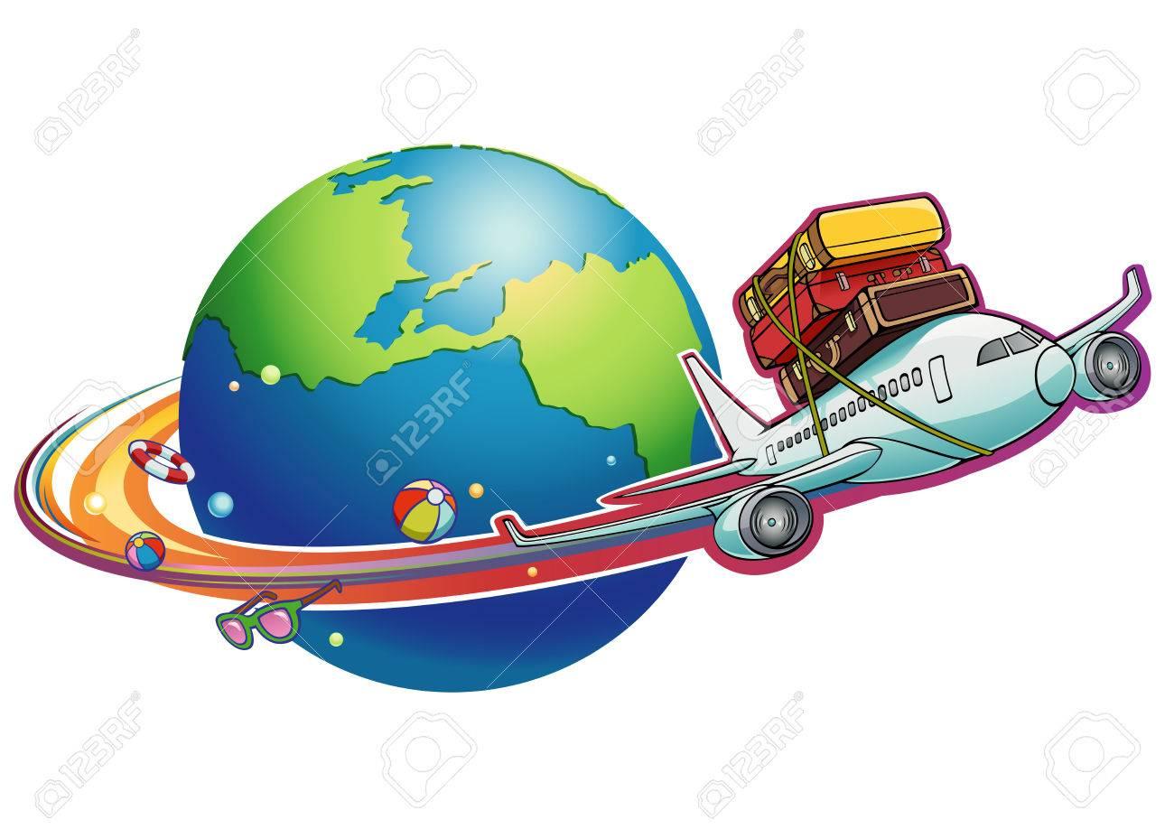 Vettoriale un aereo cartone animato sta volando con set di